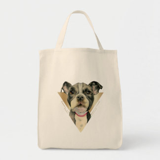 """""""Puppy Eyes"""" Pit Bull Dog Watercolor Painting 4 Tote Bag"""