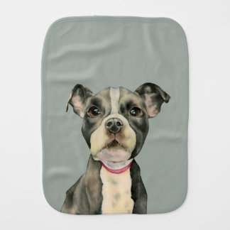 """Puppy Eyes"" Pit Bull Dog Watercolor Painting Burp Cloth"