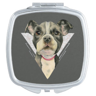 """""""Puppy Eyes"""" Pit Bull Dog Watercolor Painting Compact Mirrors"""