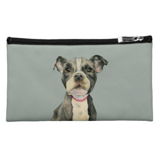 """Puppy Eyes"" Pit Bull Dog Watercolor Painting Cosmetic Bag"