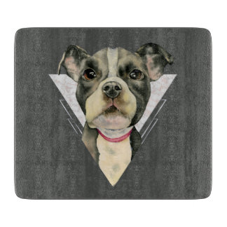 """""""Puppy Eyes"""" Pit Bull Dog Watercolor Painting Cutting Board"""