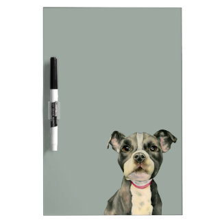 """Puppy Eyes"" Pit Bull Dog Watercolor Painting Dry Erase Board"