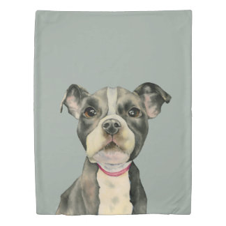 """Puppy Eyes"" Pit Bull Dog Watercolor Painting Duvet Cover"