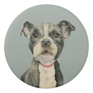 """""""Puppy Eyes"""" Pit Bull Dog Watercolor Painting Eraser"""