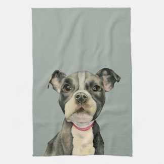"""Puppy Eyes"" Pit Bull Dog Watercolor Painting Kitchen Towel"