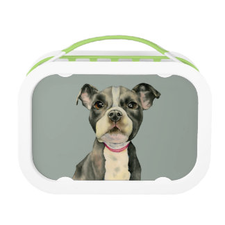 """""""Puppy Eyes"""" Pit Bull Dog Watercolor Painting Lunch Box"""