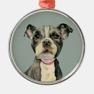 """Puppy Eyes"" Pit Bull Dog Watercolor Painting Metal Ornament"
