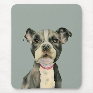 """""""Puppy Eyes"""" Pit Bull Dog Watercolor Painting Mouse Pad"""