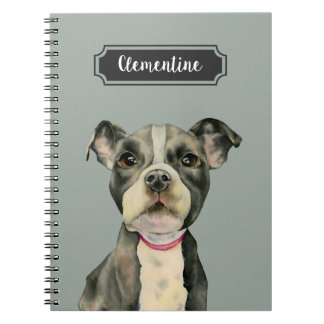 """Puppy Eyes"" Pit Bull Dog Watercolor Painting Notebook"