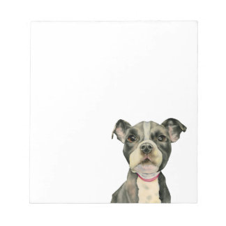 """""""Puppy Eyes"""" Pit Bull Dog Watercolor Painting Notepad"""