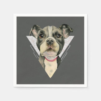 """""""Puppy Eyes"""" Pit Bull Dog Watercolor Painting Paper Napkin"""