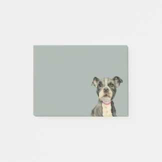 """""""Puppy Eyes"""" Pit Bull Dog Watercolor Painting Post-it Notes"""