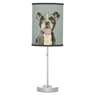 """Puppy Eyes"" Pit Bull Dog Watercolor Painting Table Lamp"
