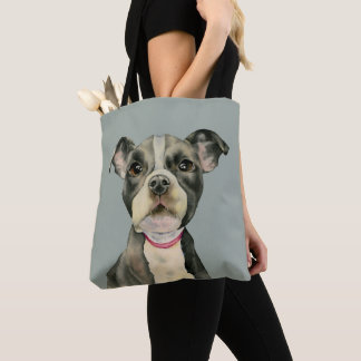 """Puppy Eyes"" Pit Bull Dog Watercolor Painting Tote Bag"