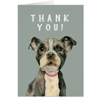"""Puppy Eyes"" Pit Bull Dog Watercolor Thank You Card"