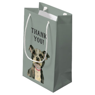 """Puppy Eyes"" Pit Bull Dog Watercolor Thank You Small Gift Bag"