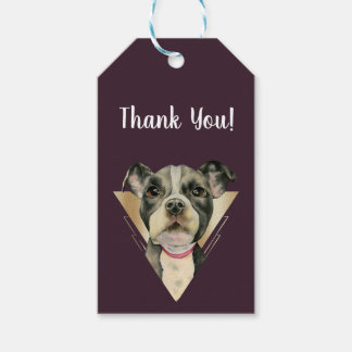 Puppy Eyes Watercolor Painting 4 Thank You Gift Tags