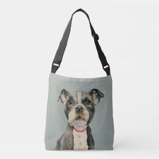 Puppy Eyes Watercolor Painting Crossbody Bag