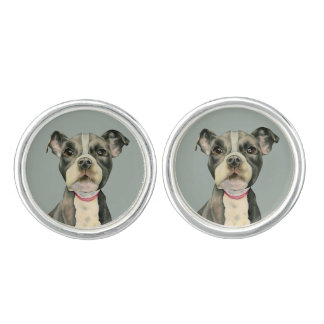 Puppy Eyes Watercolor Painting Cufflinks