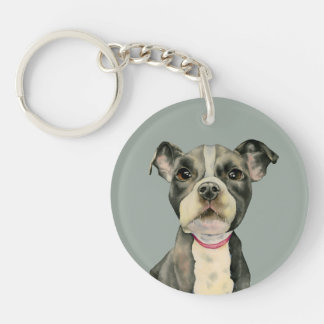 Puppy Eyes Watercolor Painting Keychain