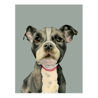 Puppy Eyes Watercolor Painting Postcard