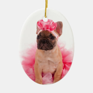 Puppy french bulldog disguised ceramic ornament