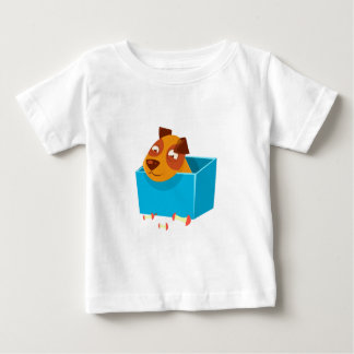 Puppy Hiding In Box Surrounded By Apple Cores Baby T-Shirt
