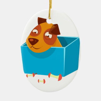 Puppy Hiding In Box Surrounded By Apple Cores Ceramic Ornament