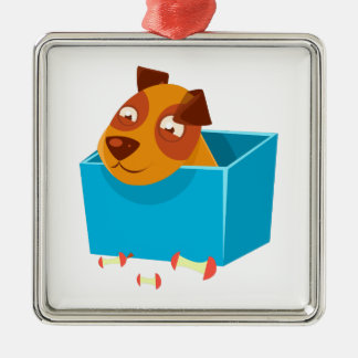 Puppy Hiding In Box Surrounded By Apple Cores Metal Ornament