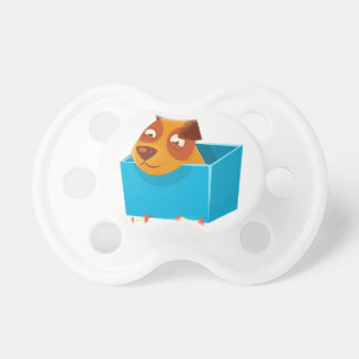 Puppy Hiding In Box Surrounded By Apple Cores Pacifier