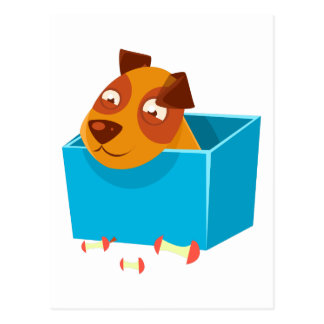 Puppy Hiding In Box Surrounded By Apple Cores Postcard