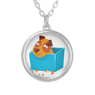 Puppy Hiding In Box Surrounded By Apple Cores Silver Plated Necklace