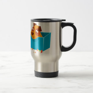 Puppy Hiding In Box Surrounded By Apple Cores Travel Mug