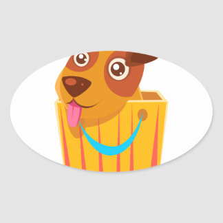 Puppy Hiding In Shopping Bag Oval Sticker