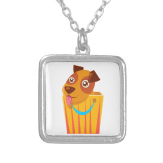 Puppy Hiding In Shopping Bag Silver Plated Necklace