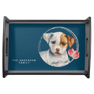 Puppy Holding Lotus Flower | Add Your  Family Name Serving Tray