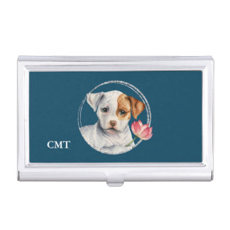 Puppy Holding Lotus Flower | Add Your Initials Business Card Holder