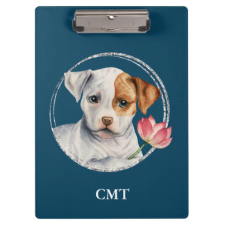 Puppy Holding Lotus Flower | Add Your Initials Clipboard