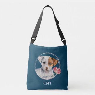 Puppy Holding Lotus Flower | Add Your Initials Crossbody Bag