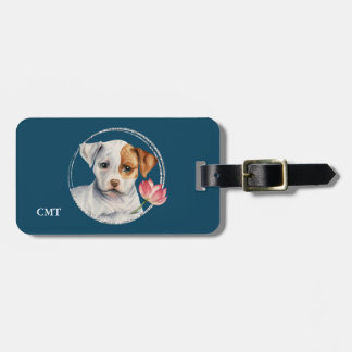 Puppy Holding Lotus Flower | Add Your Initials Luggage Tag