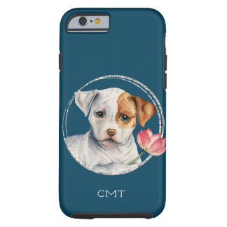 Puppy Holding Lotus Flower | Add Your Initials Tough iPhone 6 Case