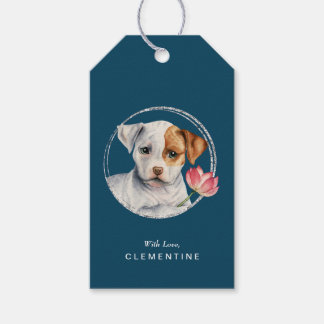 Puppy Holding Lotus Flower | Add Your Name Gift Tags