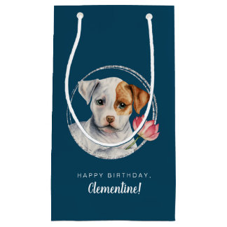 Puppy Holding Lotus Flower Birthday with Name Small Gift Bag