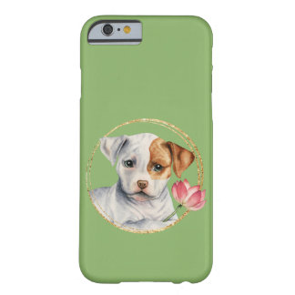 Puppy Holding Lotus Flower with Faux Gold Ring Barely There iPhone 6 Case