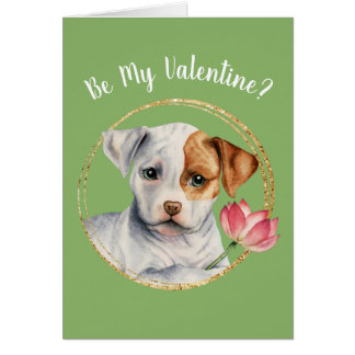 Puppy Holding Lotus Flower with Faux Gold Ring Card