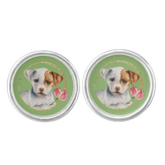 Puppy Holding Lotus Flower with Faux Gold Ring Cuff Links
