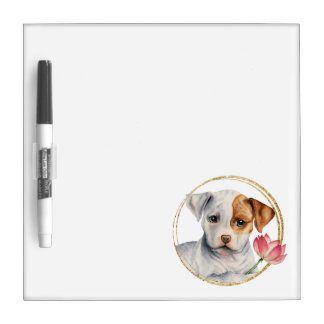 Puppy Holding Lotus Flower with Faux Gold Ring Dry Erase Board