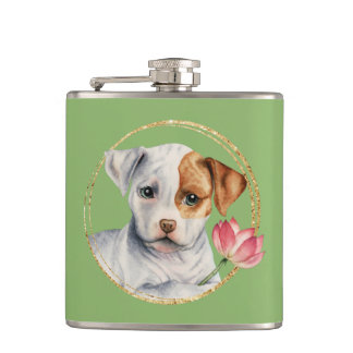 Puppy Holding Lotus Flower with Faux Gold Ring Hip Flask