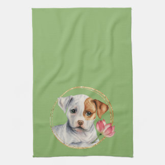 Puppy Holding Lotus Flower with Faux Gold Ring Kitchen Towel