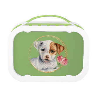 Puppy Holding Lotus Flower with Faux Gold Ring Lunch Box